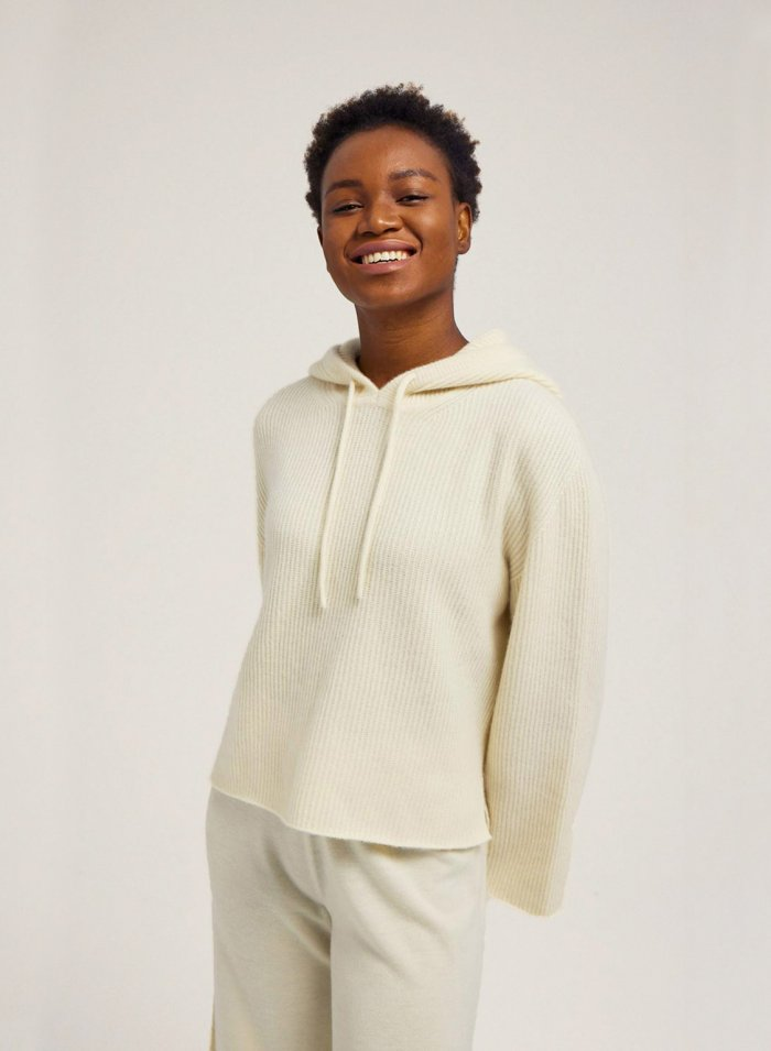 Cropped 100% Cashmere Hoodie