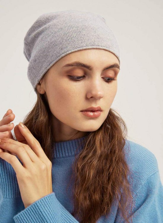 Knitted Beanie With Curled Edges