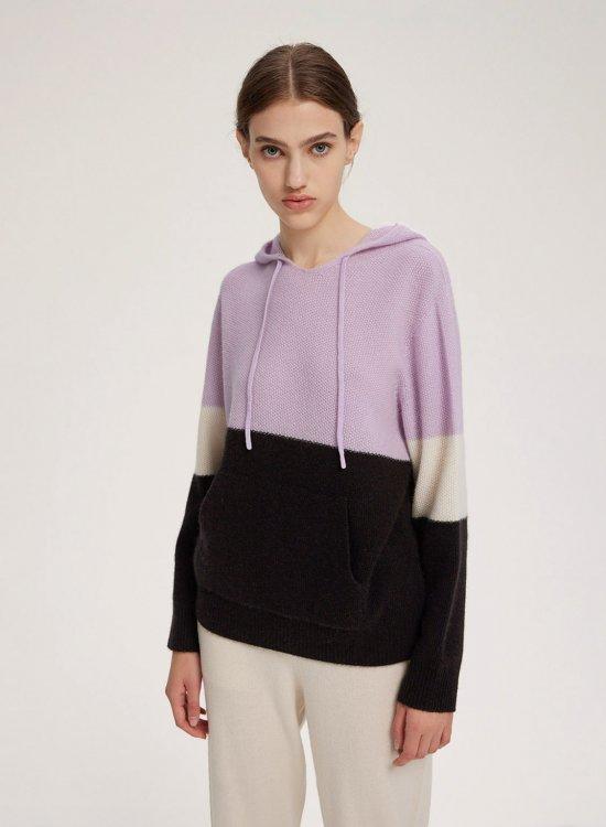 Color Block Knit Cashmere Hoodie
