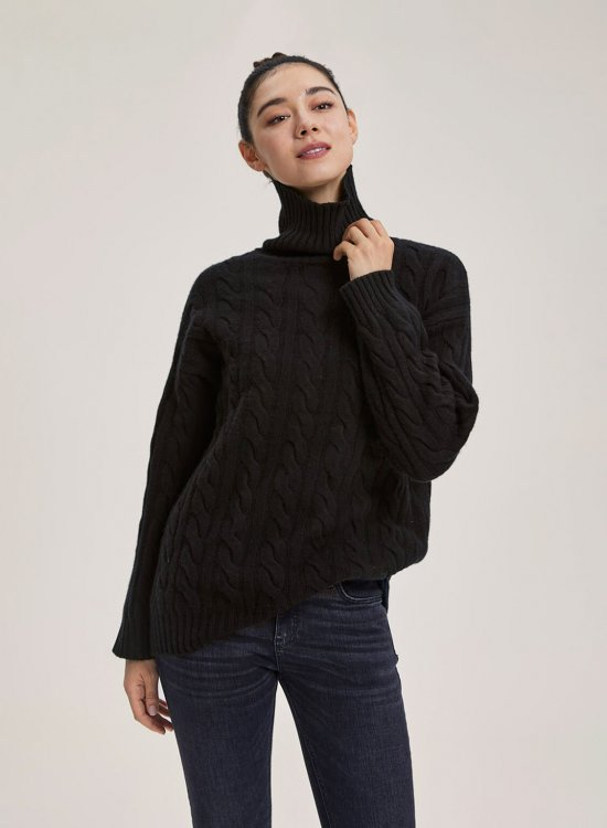 Ultra High-Neck Cable-Knit Wool Sweater