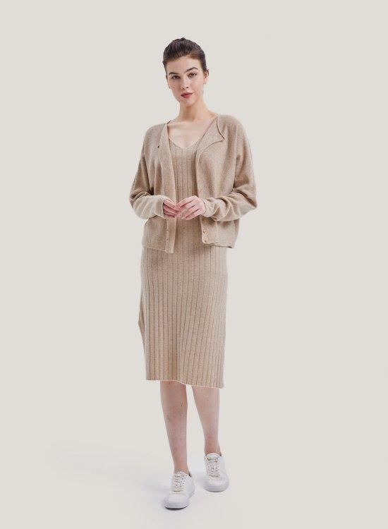 Cashmere Cardigan And Midi Dress Set