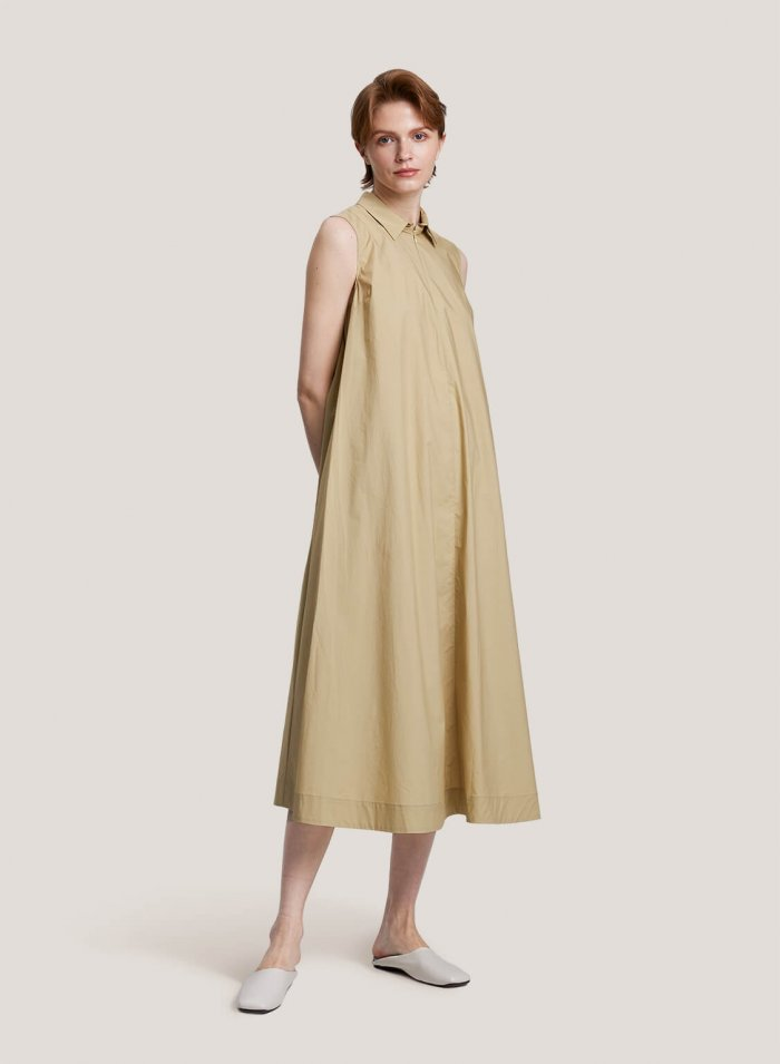 100% Cotton Sleeveless Maxi Shirt Dress