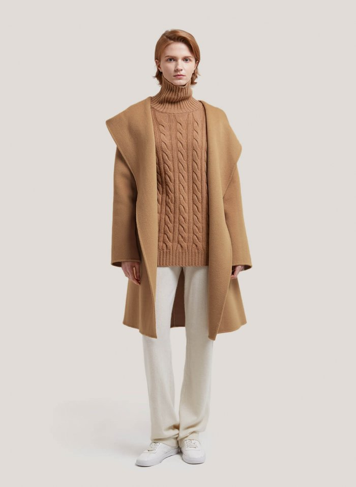 Hooded Wrap Wool Coat