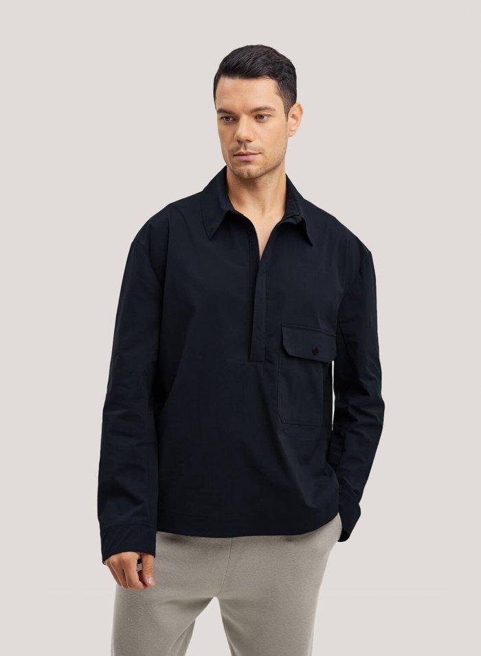 Half-Zip Cotton-Blend Pullover